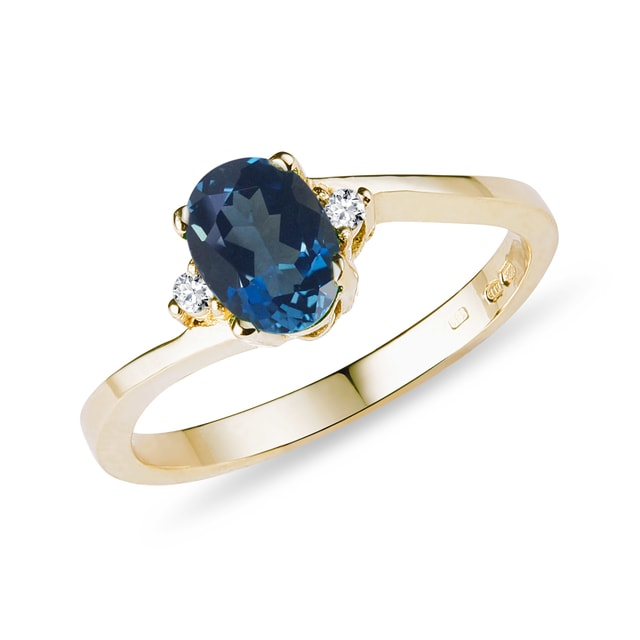 Topaz and diamond ring in 14kt gold