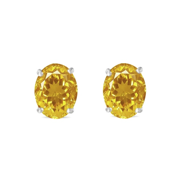 CITRINE STUD EARRINGS IN 14KT GOLD - CITRINE QUARTZ EARRINGS - EARRINGS