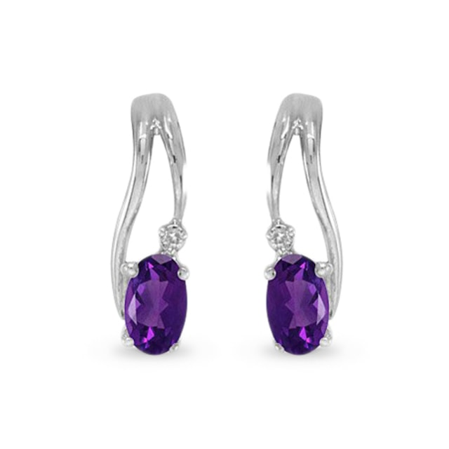 Amethyst and diamond earrings in 14kt white gold