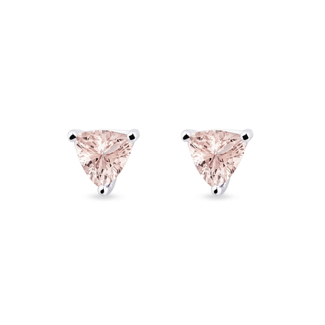 Morganite earrings in white gold