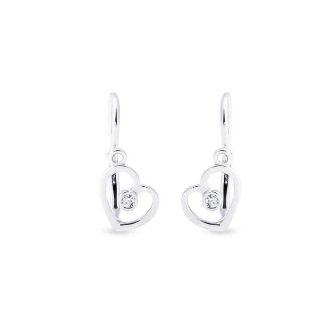 Baby heart earrings in 14kt white gold