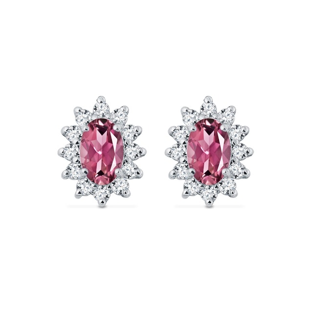 Earrings in white gold with diamonds and tourmalines