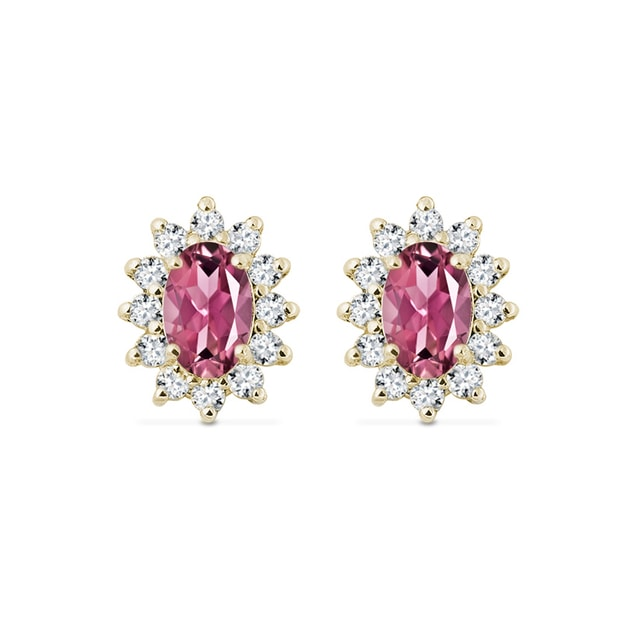 Gold earrings with diamonds and tourmalines