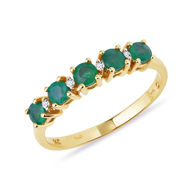 EMERALD AND DIAMOND RING IN 14KT GOLD - YELLOW GOLD RINGS - RINGS