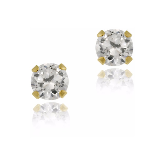 CZ STUD EARRINGS IN 14KT GOLD - EARRINGS WITH CZ STONES - EARRINGS