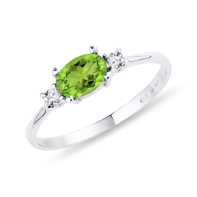 RING WITH OLIVINE AND DIAMONDS - PERIDOT RINGS - RINGS