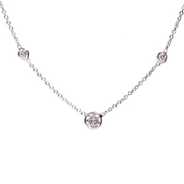 14KT WHITE GOLD NECKLACE - DIAMOND PENDANTS - PENDANTS