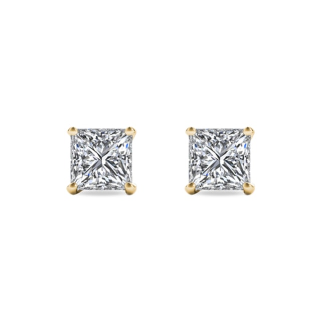 PRINCESS-CUT DIAMOND 14KT GOLD EARRINGS - STUD EARRINGS - EARRINGS