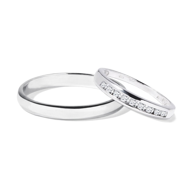 Alliances de mariage en or blanc avec diamants