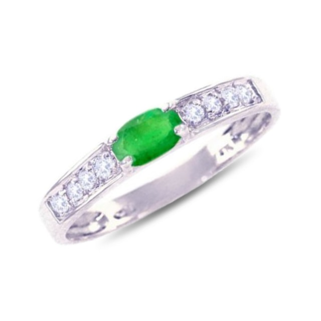 EMERALD WHITE GOLD RING IN 14KT WHITE GOLD - EMERALD RINGS - RINGS