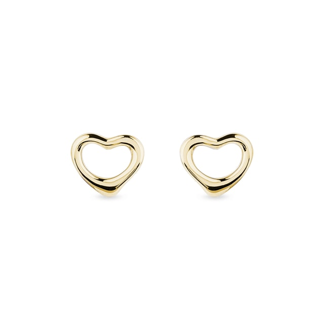 Heart earrings in yellow gold