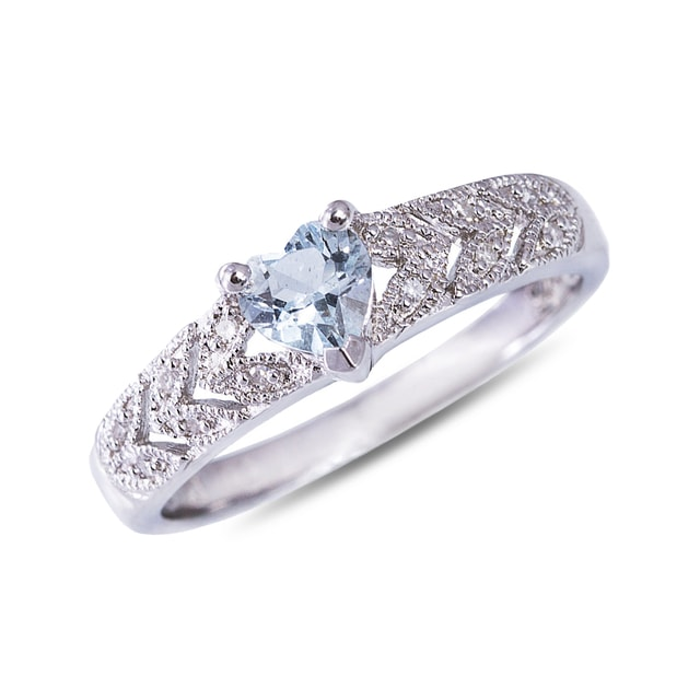 AQUAMARINE AND DIAMOND HEART RING IN STERLING SILVER - AQUAMARINE RINGS - RINGS