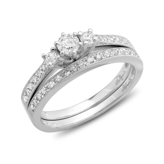 DIAMOND ENGAGEMENT AND WEDDING RINGS IN 14KT GOLD - WHITE GOLD RINGS - RINGS
