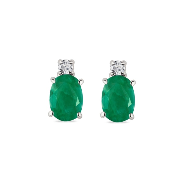 Emerald and diamond earrings in 14kt white gold