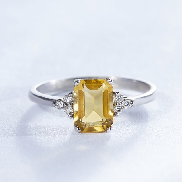 CITRINE AND DIAMOND RING IN 14KT GOLD - WHITE GOLD RINGS - RINGS