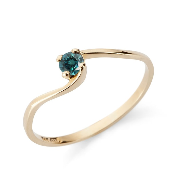 GOLD ENGAGEMENT RING WITH BLUE FANCY DIAMOND - DIAMOND RINGS - RINGS