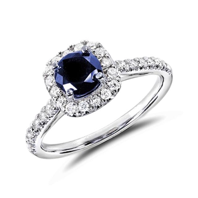 Favori KLENOTA | Bague avec saphir et plusieurs diamants | Bagues de  OL28