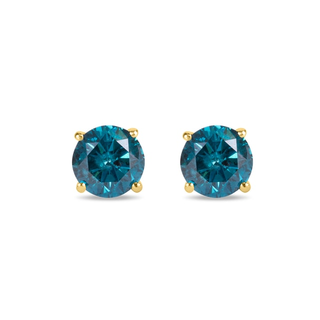FANCY BLUE DIAMOND STUD EARRINGS - STUD EARRINGS - EARRINGS