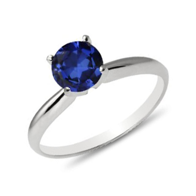 BLUE SAPPHIRE RING IN 14KT WHITE GOLD - SAPPHIRE RINGS - RINGS