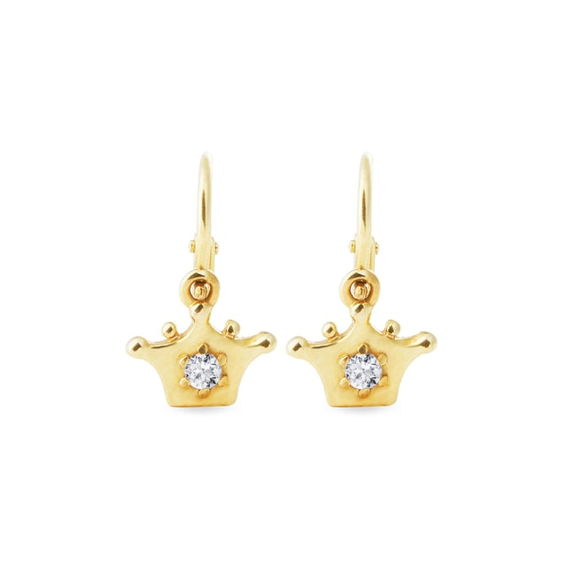 GOLD CROWN-SHAPED EARRINGS - YELLOW GOLD EARRINGS - EARRINGS