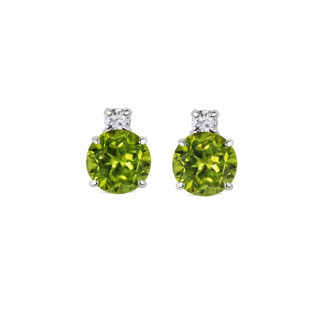 Peridot diamond earrings in 14kt gold