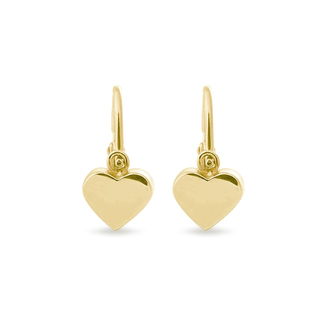 Heart earrings in 14kt yellow gold