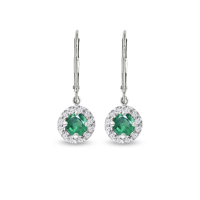 EARRINGS MADE OF WHITE GOLD WITH EMERALDS AND DIAMONDS - EMERALD EARRINGS - EARRINGS