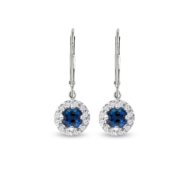 Earrings made of white gold with sapphires and diamonds