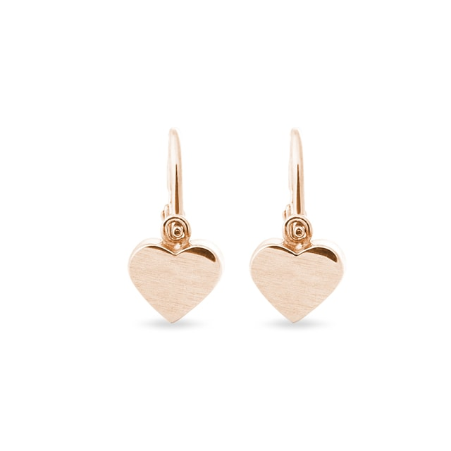 Children's heart-shaped earrings in rose gold