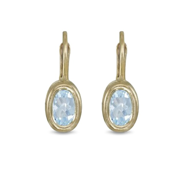AQUAMARINE EARRINGS IN 14 KT YELLOW GOLD - AQUAMARINE EARRINGS - EARRINGS