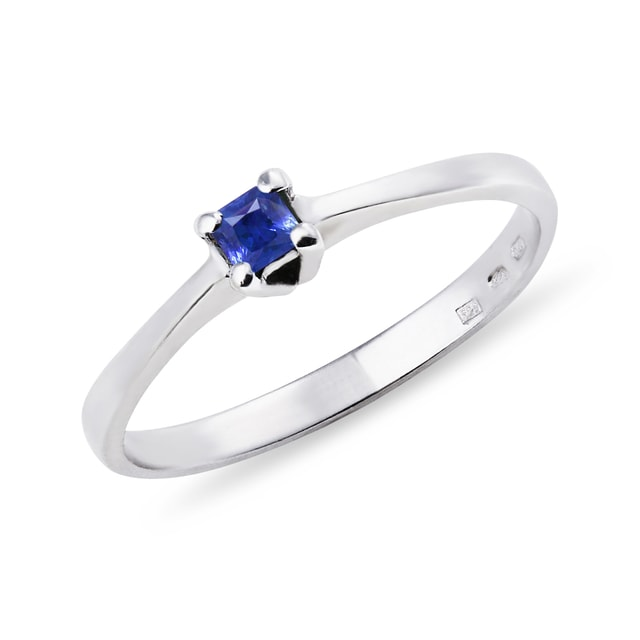 WHITE GOLD RING WITH SAPPHIRE - SAPPHIRE RINGS - RINGS
