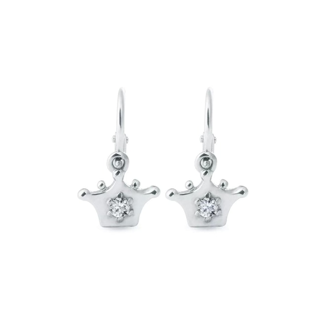 Diamond crown earrings in white gold for children