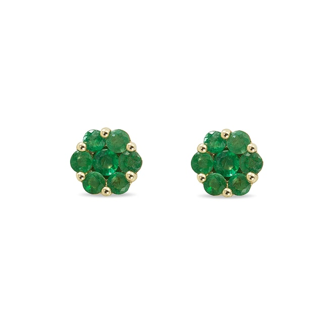 Emerald flower 14kt gold earrings