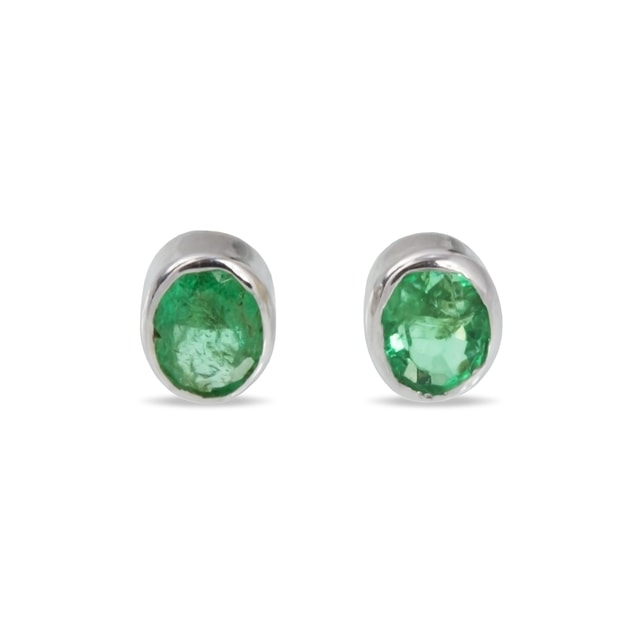 EMERALD 14KT GOLD EARRINGS - WHITE GOLD EARRINGS - EARRINGS