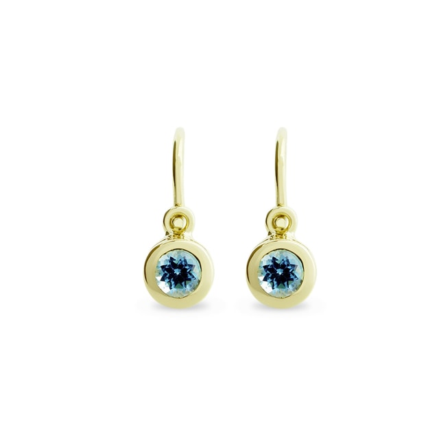 BABY BLUE TOPAZ EARRINGS IN 14KT GOLD - CHILDREN'S EARRINGS - EARRINGS