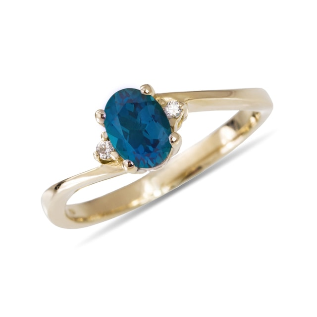 TOPAZ AND DIAMOND RING IN 14KT GOLD - ENGAGEMENT GEMSTONE RINGS - ENGAGEMENT RINGS