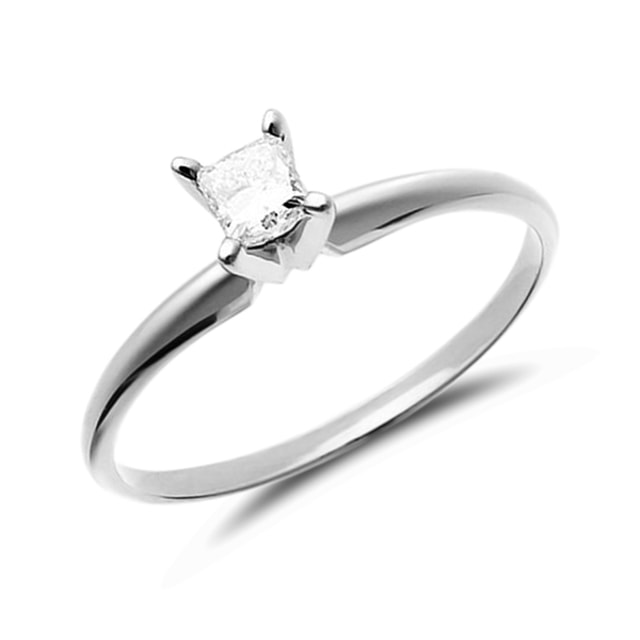 DIAMOND ENGAGEMENT RING IN 14KT WHITE GOLD - WHITE GOLD RINGS - RINGS