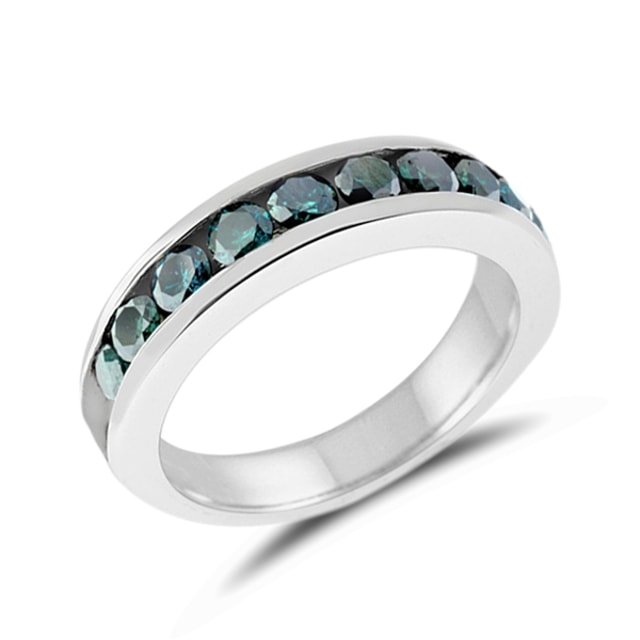 BLUE DIAMOND WEDDING RING IN WHITE GOLD - DIAMOND RINGS - RINGS