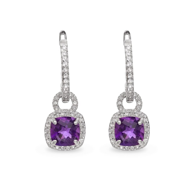 AMETHYST AND SAPPHIRE EARRINGS IN STERLING SILVER - STERLING SILVER EARRINGS - EARRINGS
