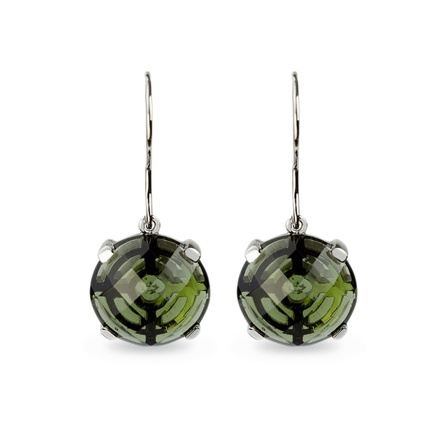 EARRINGS IN WHITE GOLD WITH GREEN MOLDAVITE - GEMSTONES EARRINGS - EARRINGS