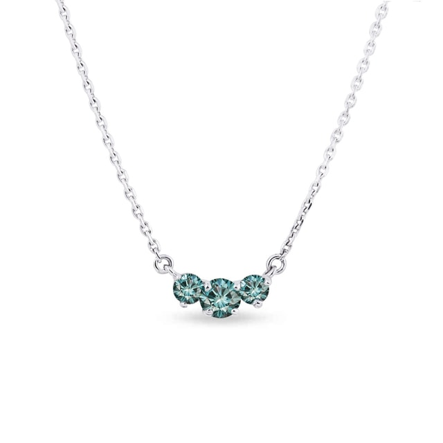 Blue diamond necklace in 14kt white gold