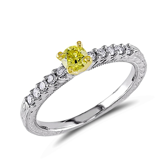 YELLOW DIAMOND RING IN 14KT GOLD - DIAMOND RINGS - RINGS