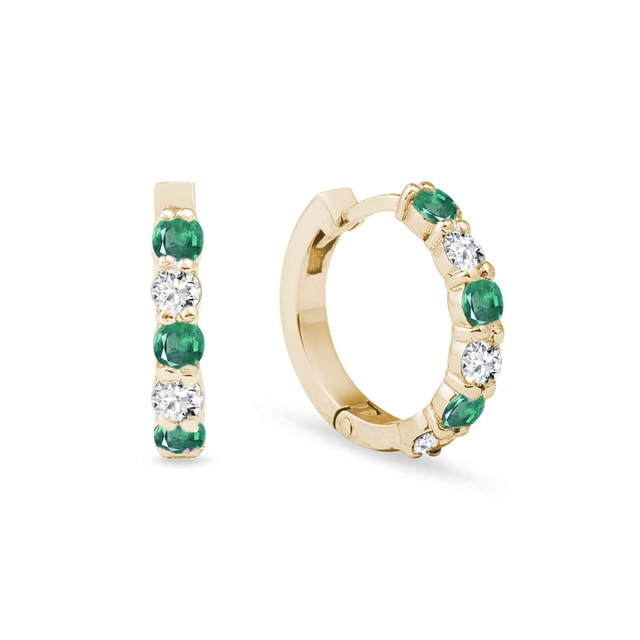 Earrings with emeralds and diamonds in yellow gold