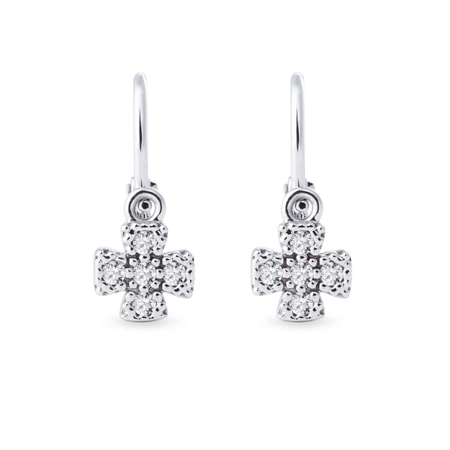 BABY CZ FLOWER EARRINGS IN 14KT GOLD - WHITE GOLD EARRINGS - EARRINGS