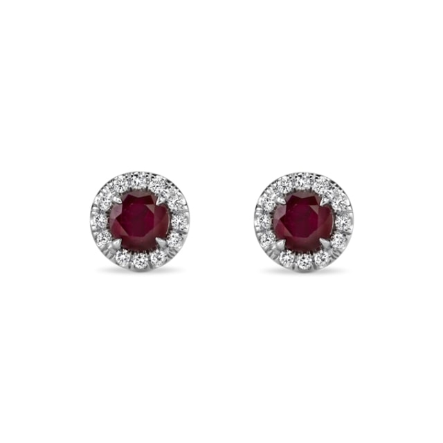 RUBY AND DIAMOND EARRINGS IN 14KT GOLD - RUBY EARRINGS - EARRINGS