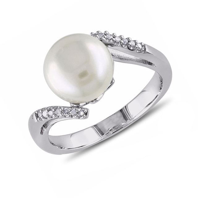 klenota silberring mit wei er perle und diamanten. Black Bedroom Furniture Sets. Home Design Ideas