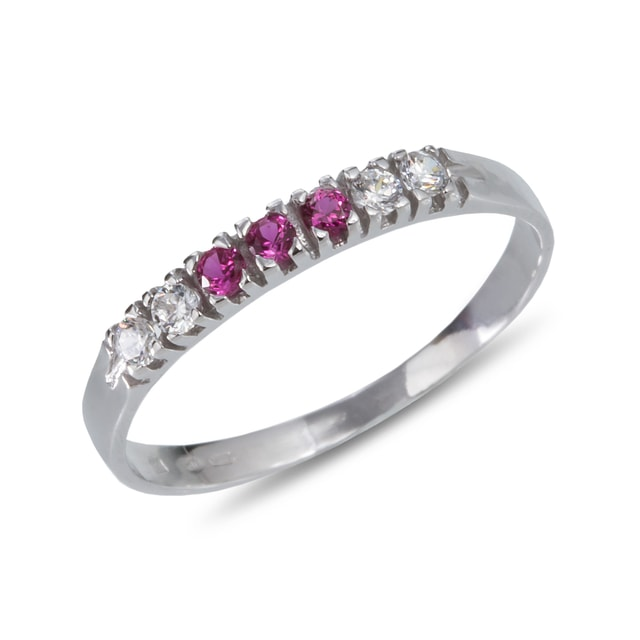 RUBY AND DIAMOND RING IN 14KT GOLD - WHITE GOLD RINGS - RINGS