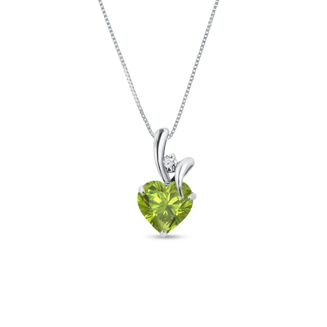 PERIDOT AND DIAMOND PENDANT IN 14KT GOLD - HEART PENDANTS - PENDANTS