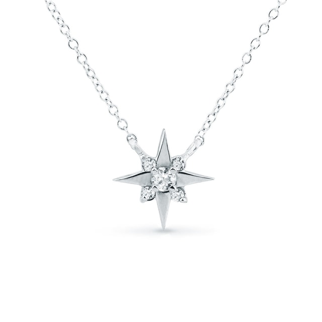 GOLD STAR NECKLACE WITH DIAMONDS - DIAMOND PENDANTS - PENDANTS