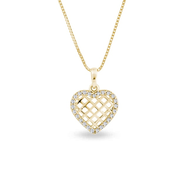 CZ heart pendant in 14kt gold